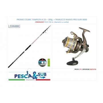 PROMO TRABUCCO TEMPESTA 4,20 - 180 g. + TRABUCCO MUL. MAXXIS PRO SURF 8000