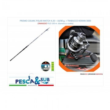 PROMO TRABUCCO COLMIC POLAR MATCH 4,20 m. - 10-80g. + TRABUCCO KEIRAN 3000
